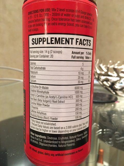 4 gauge ingredients