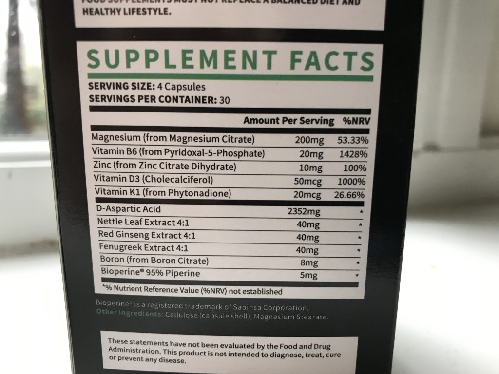 testogen ingredient label